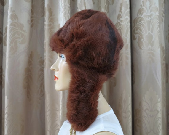 Fur trapper hat, red squirrel trapper hat, made in Russia, vintage dead stock, never worn, small size up to 52 cm / 20.25 inches
