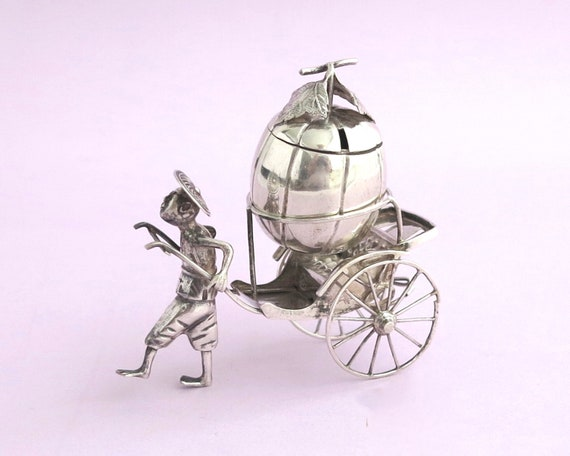 Antique sterling silver rickshaw mustard pot, Chinese export sterling silver, hand worked, finely detailed, 59 grams, 1900 - 1925