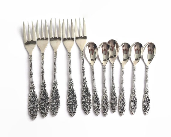 Vintage silver plated cake forks and teaspoons, elaborate handles, Gero, Holland, mid 20th century