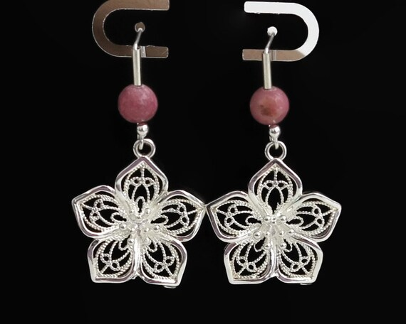 Sterling silver filigree flower hook earrings with pink rodonite, sterling silver findings