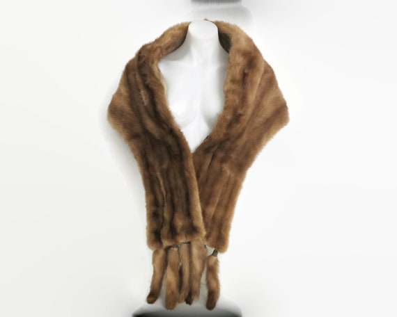 Vintage fox fur stole with long removable fur tassels, golden brown fur, hidden pockets, beautifully made, Jackson Furs, Australia, 1950s