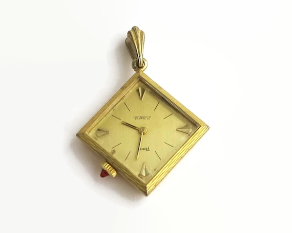 Vintage gold filled watch pendant, Timor brand, double sided, winding mechanism, working order, mid 20th century