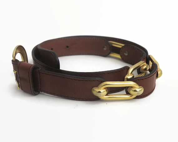 Vintage brown leather belt with chunky gold hardware and decorative elements, made in Italy, 85 - 90 cm / 33.5 - 35.5 inches, 1980s