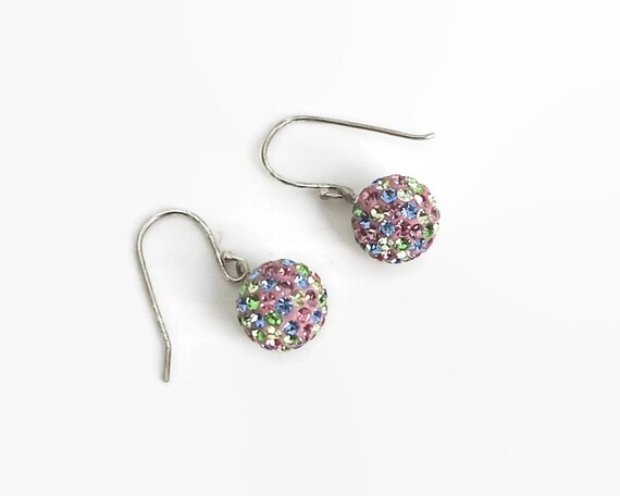 Crystal ball hook earrings in sterling silver setting, multi colored crystals in shades of pink, blue, green, citrine, stamped 925, 2 grams