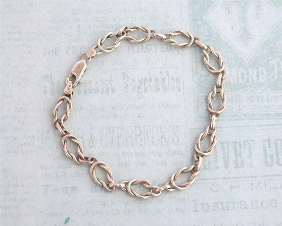Sterling silver bracelet with complex cable links, stamped 925, 7.75 inches / 19.5 cm, 7 grams