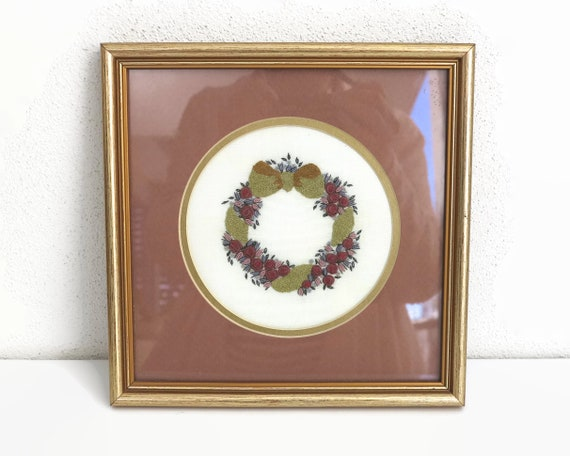 Vintage hand embroidery of wreath of roses with bow, small embroidery professionally matted and framed, 8.5 inches / 21.5cm square