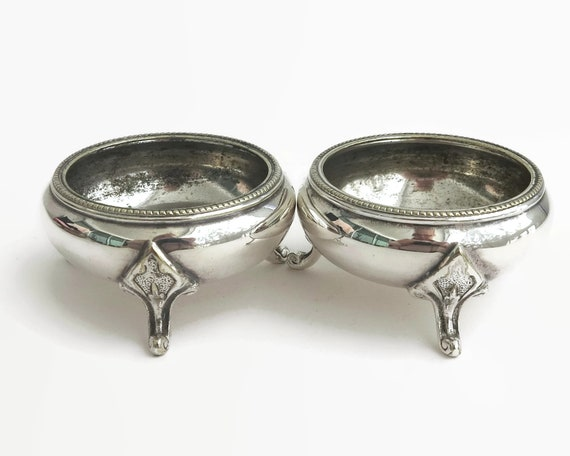 2 antique silver plated salt cellars, Atkin Bros, Sheffield, England, circa 1920s