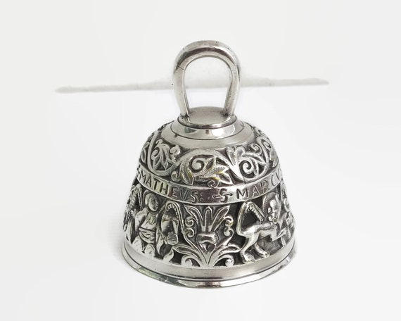 Vintage silver Apostle hand bell, combination of embossed and open metal work, animals, people, leaves, great ringing sound