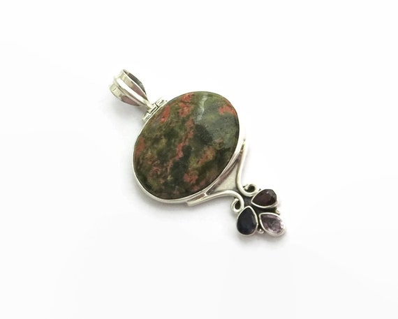 Large vintage sterling silver Unakite pendant with amethysts and garnet, top bale, circa 1980s, 12 grams
