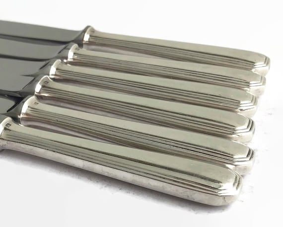 6 silver plated Christofle dessert knives, America pattern, Art Deco pattern, made in France