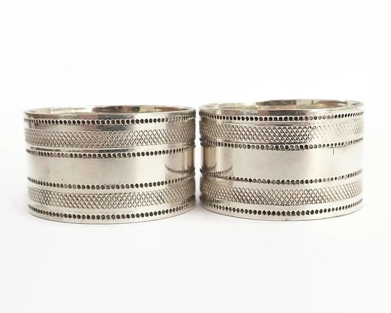 2 antique silver plated napkin holders, machined pattern, Edwardian, circa 1900s