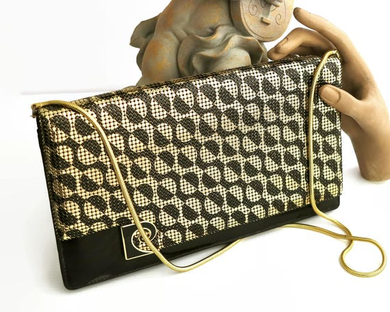 Vintage Pierre Cardin mesh handbag, gold & black mesh, classic Pierre Cardin pattern, gold snake chain handle, clutch / shoulder bag, 1980s