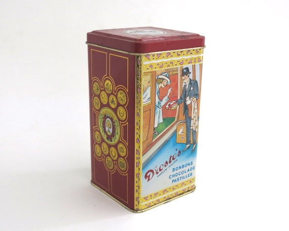 Vintage Droste & Co confectionery tin with lid and beautiful images, 6.25 inches / 16cm tall, circa 1980s