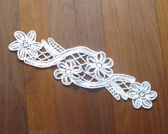 Large Romanian Point Lace applique, off-white macrame lace, hand made, flowers and other embellishments, 17.5 inches / 45 cm long