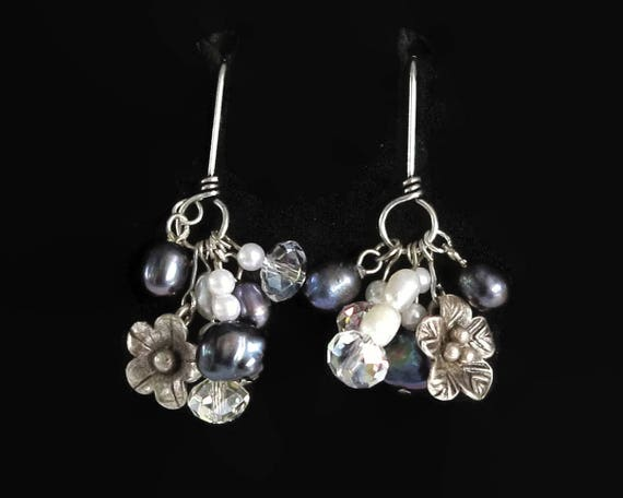 Pearl dangle earrings with blue and white freshwater pearls, tiny flowers, sterling silver ear wires, multiple dangles, 9 grams