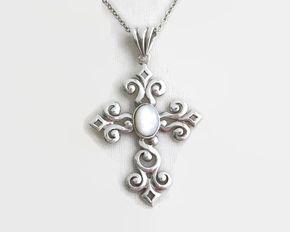 Vintage sterling silver filigree cross with mother of pearl on fine cable link chain, Canada sterling