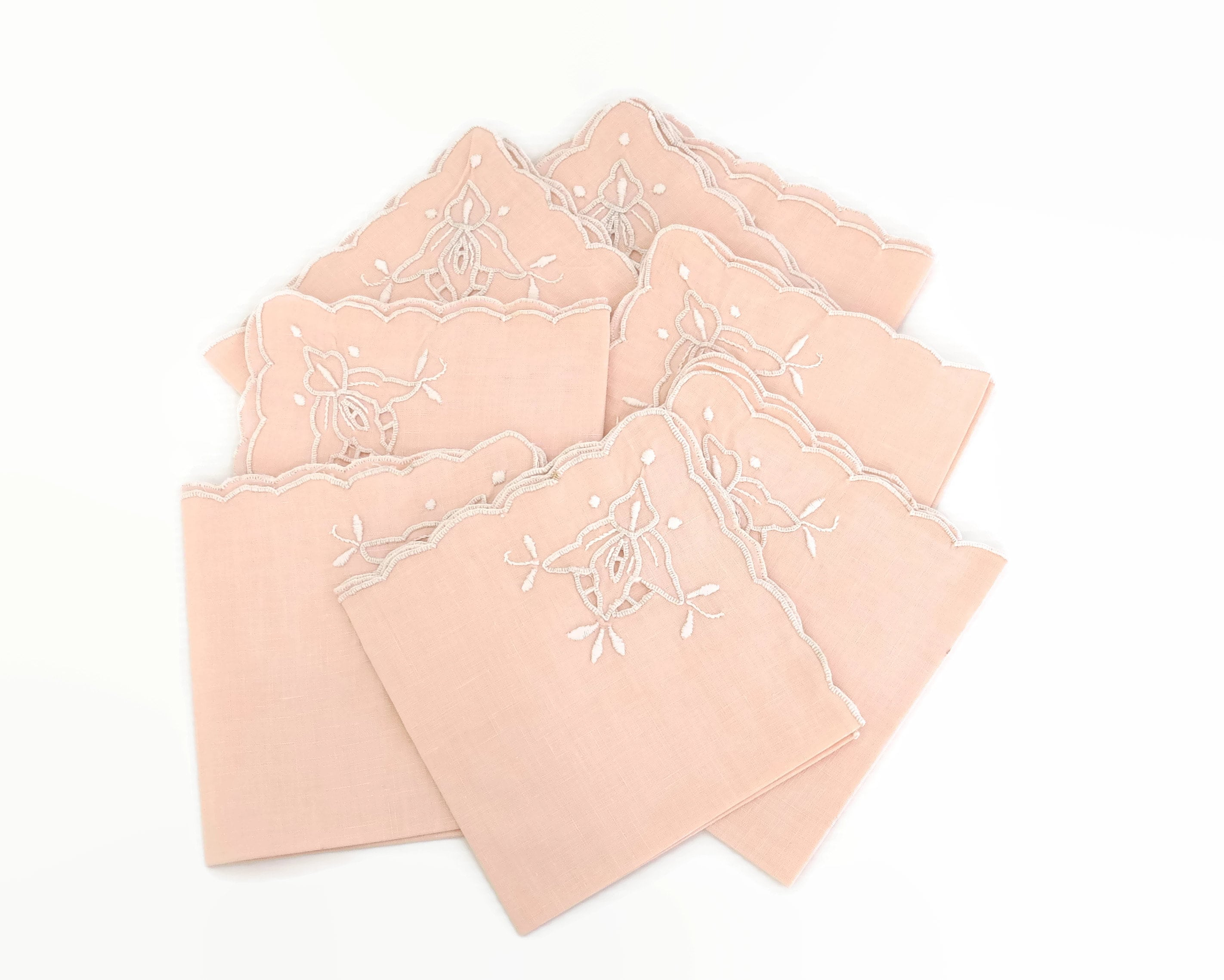 8 Vintage Salmon Pink Linen Embroidered Napkins Scalloped Edge Floral Embroidery 10 5 Inches 26 5cm Square