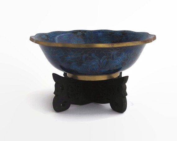 Vintage Millefiori cloisonné blue bowl on decorative wooden stand, vibrant blue colors, made in China, 8.25 inches / 21 cm across