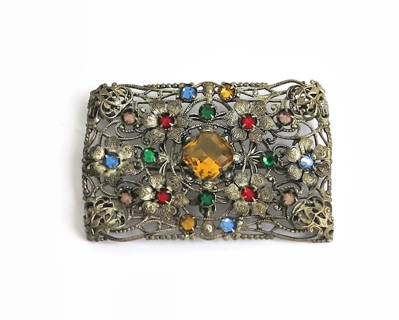 Vintage filigree brooch with multi colored glass stones, floral pattern, pewter metal, circa 1940s