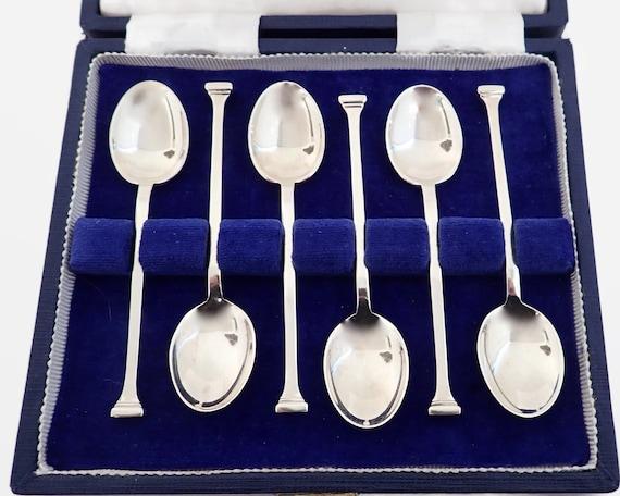 6 sterling silver seal end teaspoons in original box, Birmingham England, 1973,  55 grams