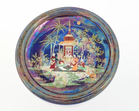 Carlton Ware Persian pattern bowl, highly glazed, complex pattern, number 2884, large and heavy bowl, 1920s