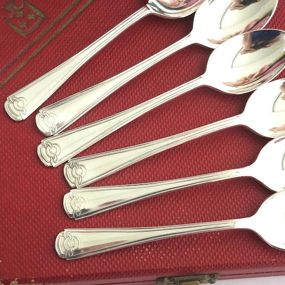 6 silver plated teaspoons in original red box, Art Deco inspired pattern, Grosvenor brand, Australia, circa 1950s