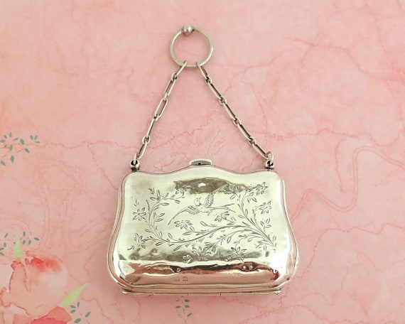 Antique sterling silver dance purse with engraving of birds and plants, hallmarked, 1916, Birmingham, England, 64 grams