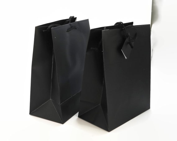 Black paper gift / shop bags with soft black rope handles and gift tag, 10 bags per lot, 23 x 18 x 10cm / 9 x 7 x 4 inches
