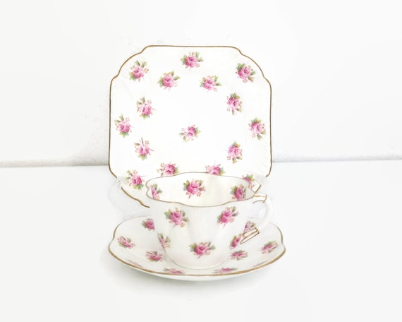 Vintage Shelley Rosebud Dainty trio, cup, saucer, plate, white bone china with pink rosebuds and gilt trim, No 272101, 1920s/ 30s