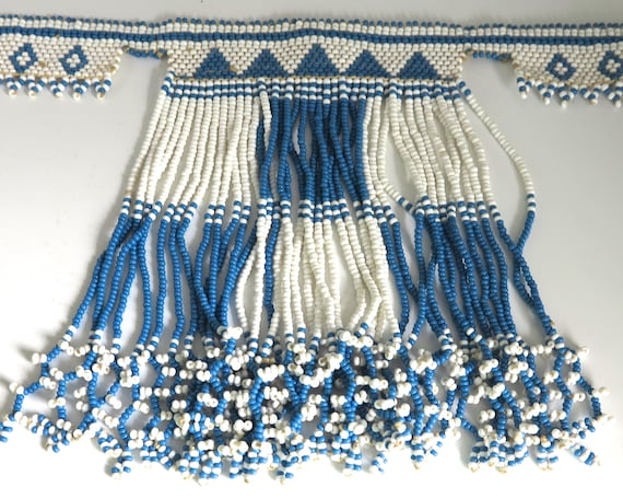 Native American beaded choker necklace with dangles for girl, blue and white beads, button closure, adjustable, 11 - 13 inches / 28 - 33 cm