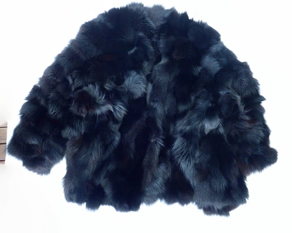 Genuine rabbit fur coat for a man or woman, black rabbit fur, long, luxurious, made in Italy, fits up to 42 inches / 107 cm chest