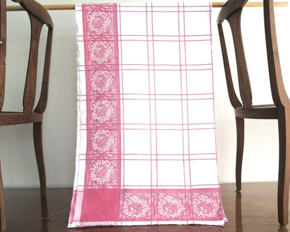 Large vintage pink and white damask linen tablecloth, flowers and checks, rectangular, 75 x 48 inches / 190 x 122 cm, mid 20th century