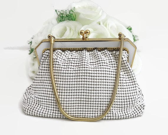 Vintage white mesh evening purse with gold metal and white enamel frame, gold handle, Park Lane, made in Australia, 1970s