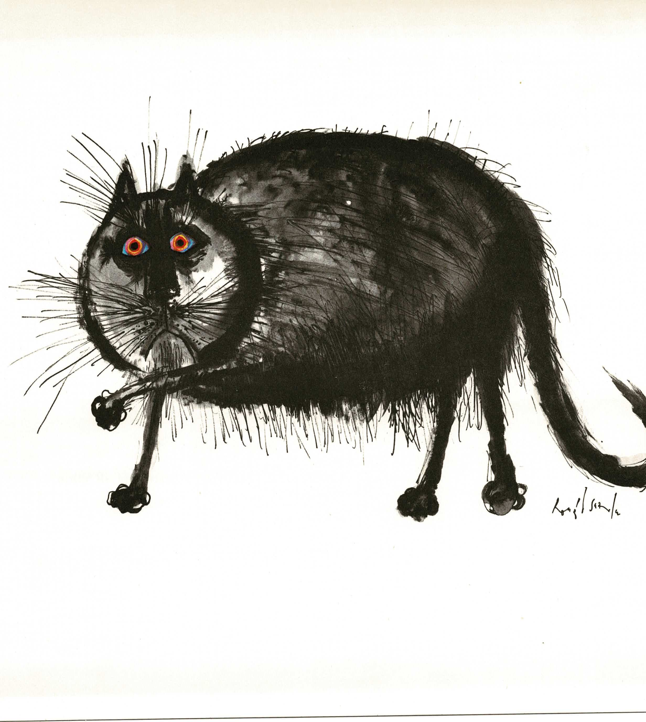 Vintage Ronald Searle Book Print Of Ugly Cat
