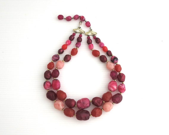 Vintage Coro double strand necklace with pink Thermoset beads and gold spacers, J hook, signed Coro, 1950s
