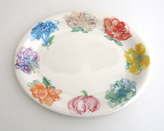 Large Tiffany & Co serving platter, Blossom pattern, large impressionist flowers around edge, 14 x 12 inches / 36 x 30cm