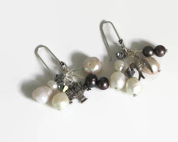 Sterling silver pearl dangle earrings, blue-grayiuq29w and white freshwater pearls, Swarovski crystals, marcasite charms, 15 grams