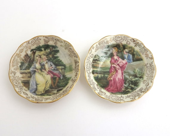 2 trinket dishes, James Kent, England, Romance series, courting couples, mid 20th century