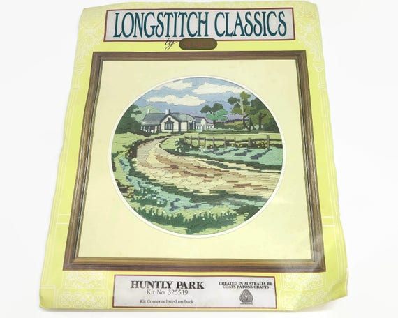 Longstitch kit of Australian rural scene, Longstitch and French knots, circular, 11.5 inches / 29cms across, vintage dead stock, circa 1970s
