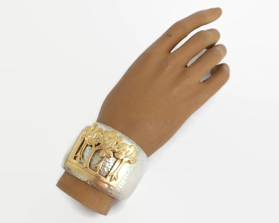 Hand hammered sterling silver cuff bracelet with overlay of brass trees, 67 grams