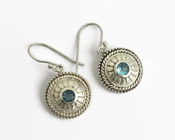Sterling silver blue topaz hook earrings, domed circles with grooves and double beading on edges, stamped 925, 6 grams