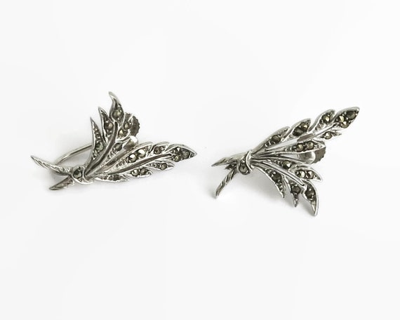 Vintage sterling silver and marcasite earrings in the shape of leaves, screw backs, circa 1950s