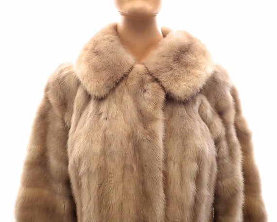 Genuine mink fur coat, beige color, longer coat, made in London, fits up to bust 38 inches / 97 cm, mid 20th century