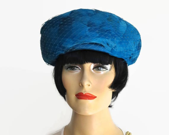Vintage blue feather hat with deep turned up brim, blue net, blue satin bow, fully lined, gorgeous color, 22 inches / 56cm, mid 20th century