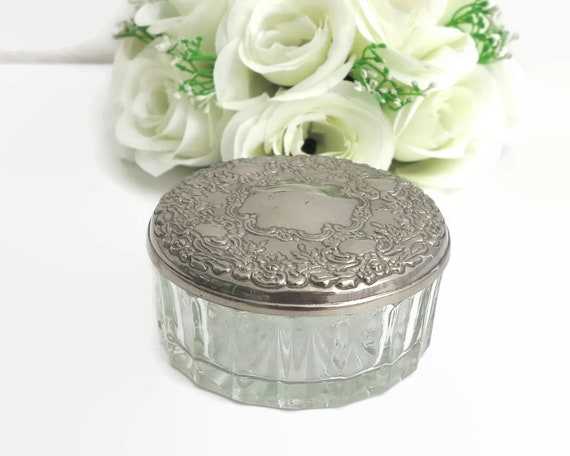 Vintage glass powder jar with embossed pewter lid with mirror, circa mid 20th century