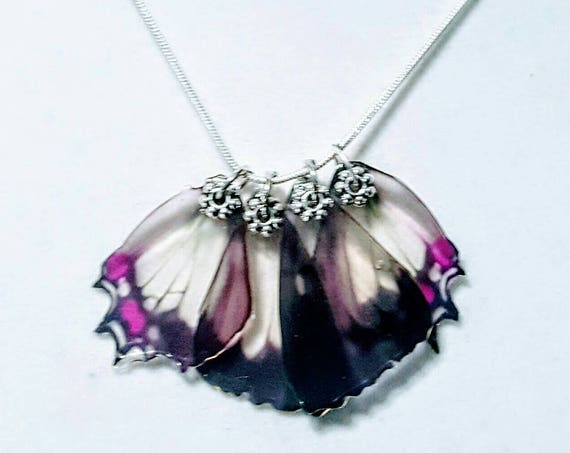 Lavender Lace Butterfly Wings - Necklace