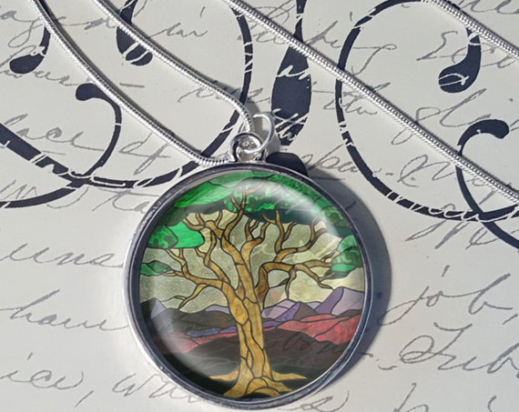Stained Glass - Transparent Round Frame - Choose Your Pendant and Frame Color