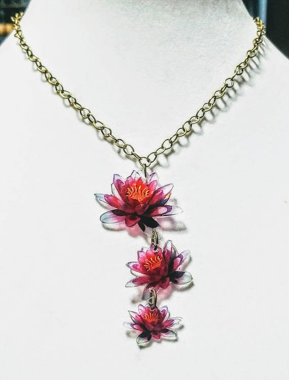 Triple Water Lily necklace. Whimsical statement necklace.
