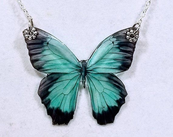 Black and Teal Butterfly Elegant Necklace