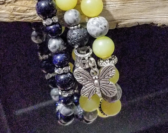 3 Strand Diffuser Power Bracelets -Yellow Jade, Quartz, Blue Goldstone. Yoga, meditation, chakra, mala, buddhist, reiki